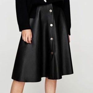 Zara Faux Leather Midi Circle Skirt Black
